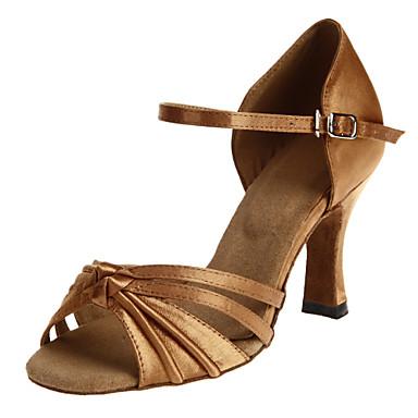Women's Rhinestone Satin Upper Hollow-out Ballroom Latin Dance Sandals Dance Shoes