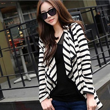Women's Fine Stripe Casual Black White Stripe Irregular Cardigan