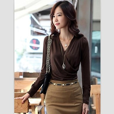 Brilliant Cheap Brown Lace Detail Button Up Sleeved Blouse For Women