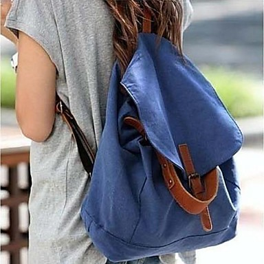 Simple Korean Style Canvas Student Backpack