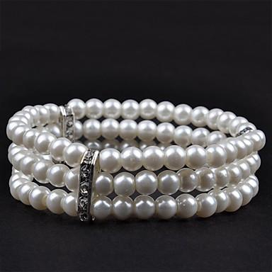 1PC Three Rows Stoneset Pearl Bracelet