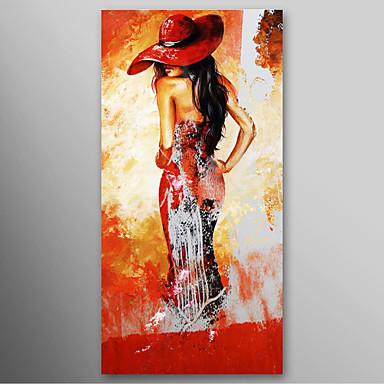 Iarts hand huile peintes peinture dame moderne chapeau rouge avec cadre tir - Peinture a l huile moderne ...