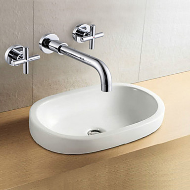 Wall mounted two handles two holes in chrome bathroom sink - Rubinetti a muro bagno ...