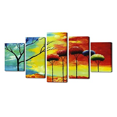 Hand Painted Oil Painting Landscape India's Scenery with Stretched Frame Set ...