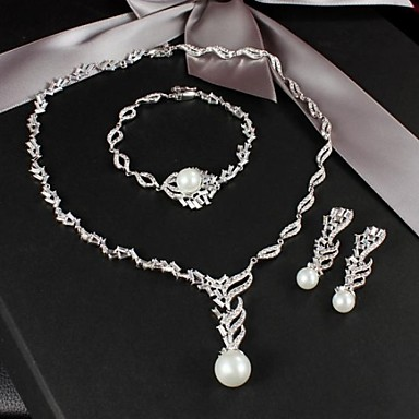 Buy Fabulous Platinum Silver Plated Imitation Pearl Wedding Jewelry Set (Including Earrings,Necklace Bracelet)