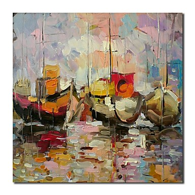 Hand Painted Oil Painting Landscape Heavy Texture Sailling Boat on The Sea wi...