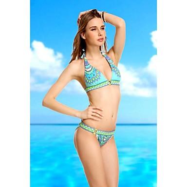 Bohemia Donna Stampa Bikini regolati Push Up Vintage senza spalline verde bikini Beachwear sexy ...