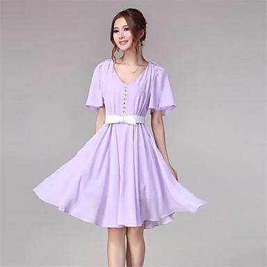 Women&-39-s Cute Flare sleeve Lavender Chiffon Swing Dress 1522136 ...