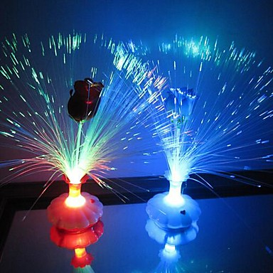 Coway A Rose Bottle of Optical Fiber Flower Colorful LED Night Light(Random Color)