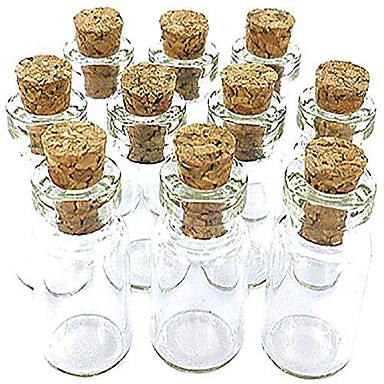 """0.95"""" H Glass Made Wish Bottle with Cork, 10 pcs"""