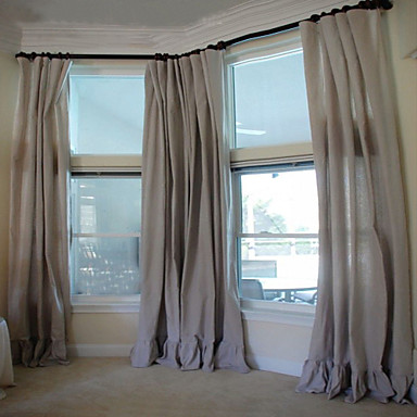 (One Panel Double Pleated) Classic Minimalist Cotton Ruffle Curtain