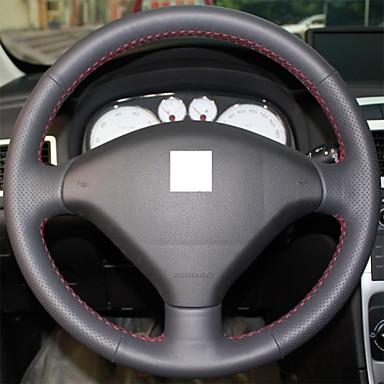 XuJi ™ Black Genuine Leather Steering Wheel Cover for Peugeot 307