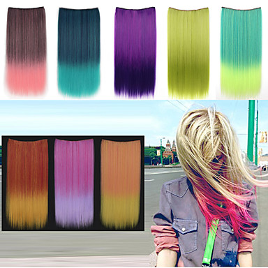 Buy 24 Inch Long Straight Synthetic Clip Hair Extensions 5 Clips - 8 Colors Available