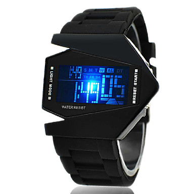 Men's Watch Sports Watch LED Digital Watch Chronograph Calendar Aircraft Silicone Strap Wrist Watch Cool Watch Unique Watch Fashion Watch