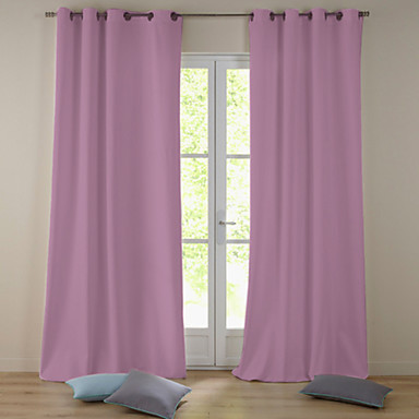 (One Panel Grommet Top) Modern Minimalist Light Pink Solid Blackout Curtain