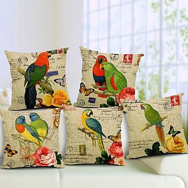 Buy Set 5 Parrot Pattern Cotton/Linen Decorative Pillow Cover