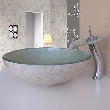 Conjunto lavabo del ba o recipiente de vidrio templado fregadero con grifo de la cascada el - Lavabo de vidrio ...