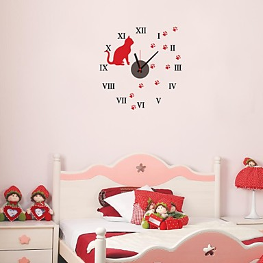 zooyoo chronom treur de batterie lectronique bricolage horloge murale ronde avec chat rouge. Black Bedroom Furniture Sets. Home Design Ideas
