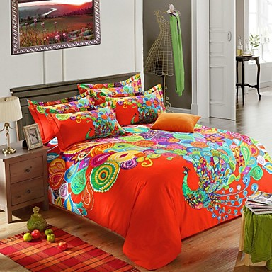 ensembles housse de couette h c en coton vert orange multicolore d. Black Bedroom Furniture Sets. Home Design Ideas