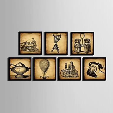 Buy Still Life Framed Canvas / Set Wall Art,PVC Black Mat Frame Art