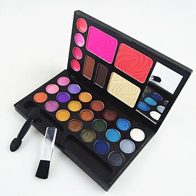 Buy 4in1 Makeup Cosmetic Palette Mirror&Applicator Brush Set A(3 Blusher&2 Eyebrow Powder&4 Lip Gloss&21 EyeShadow)