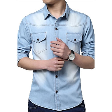 Men's Fashion Slim Washed Denim Long Sleeved Shirt (clasp random)