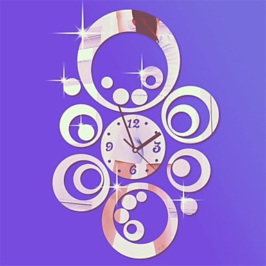 Buy 20 inchH Modern Style Round Circles 3D DIY Acrylic Mirror Wall Clock