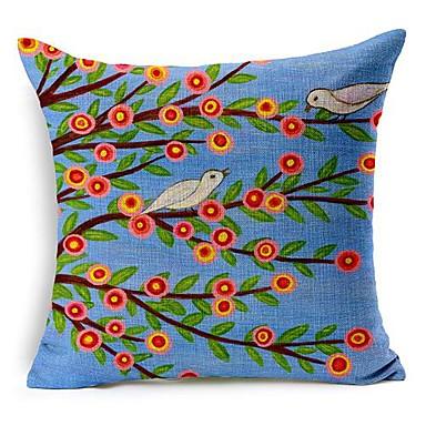 Buy Cotton/Linen Pillow Cover , Floral Modern/Contemporary