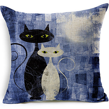 Buy Black White Cats Cotton/Linen Printed Decorative Pillow Cover
