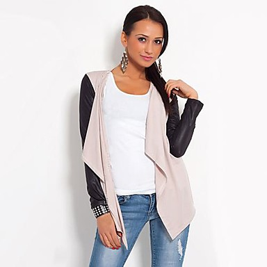 Women's Cardigan Jacket Style Synthetic Leather Sleeve Cardigan