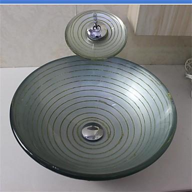 Disipador de plata c rculo recipiente de vidrio templado con juego de grifo waterfull 1772558 - Lavabo de vidrio ...