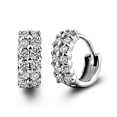 Amazing Home  Mens Or Womens Hoop Earrings With CZ Round 18MM Sterling Silver
