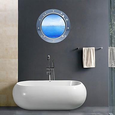 3d wall stickers wall decals seascape bathroom decor for Seascape bathroom ideas