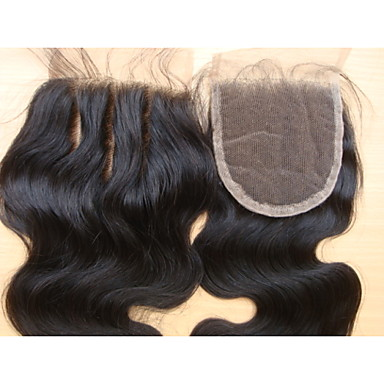 4x4 Brazilian Virgin Hair Lace Top Closure Body Wave 3 Part 8Inch Natural Colour
