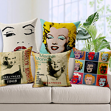 Buy Set 5 Modern Style Marilyn Monroe Patterned Cotton/Linen Decorative Pillow Cover