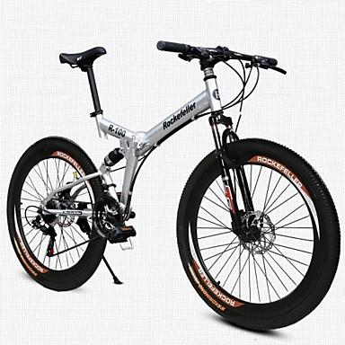 Mountain Bike Folding Bike Cycling 21 Speed 26 Inch/700CC 50mm Men's Women's Unisex Adult SHINING SYS Double Disc Brake Soft-tail Frame