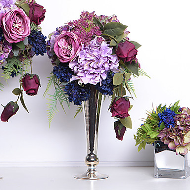 """Crazy Love B"" Neo-classical style Rose and Hydrangea With Alloy Vase for Des..."