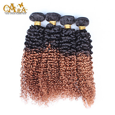 Buy 10''-26'' Ombre Hair Boundles Eurasian Virgin Extensions Kinky Curly Color 1B/30 Human Weaves