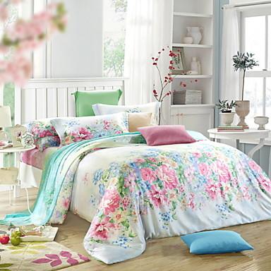 chambre fixe reine roi literie de taille d finie tencel l gante fleur couvercle lit floral. Black Bedroom Furniture Sets. Home Design Ideas
