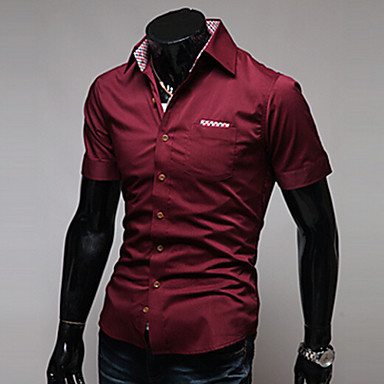 Men's Solid Casual / Work / Formal Shirt,Cotton / Cotton Blend Short Sleeve Black / Blue / Red / White
