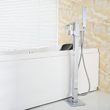 Modern vloerbevestigd inclusief handdouche staat op vloer with keramische ventiel single - Moderne badkraan ...