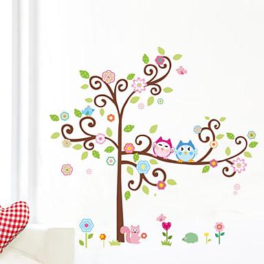 uggla väggdekaler färgglada träd vägg konst zooyoo1001 tecknade ...