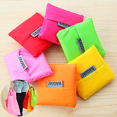 Big Capacity Fashion Reusable Storage Shopping Bag Fold-able Grocery Bags Tote (Random Color)