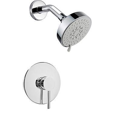 Wall Mounted Rain Shower Faucet Set 4 Round Shower Head Bathroom Mixer