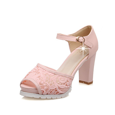 s shoes lace chunky heel peep toe platform sandals