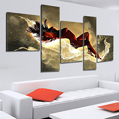 100% Hand-painted Sexy Woman Nude Oil Painting on Canvas Naked Girl Body 5pcs...