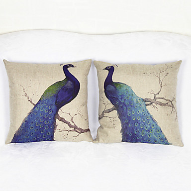 Buy Set 2 Peacock Throw Pillow Case Pillowcase Sofa Home Decor Cushion Cover (17*17 inch)