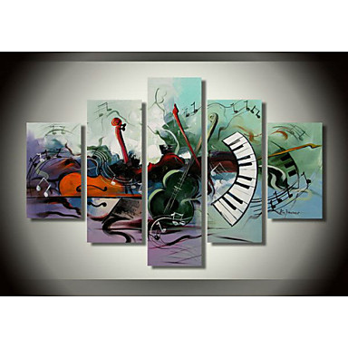 100% Hand-painted Oil Painting Musical Instrument Theme Home Decor Art Wall M...