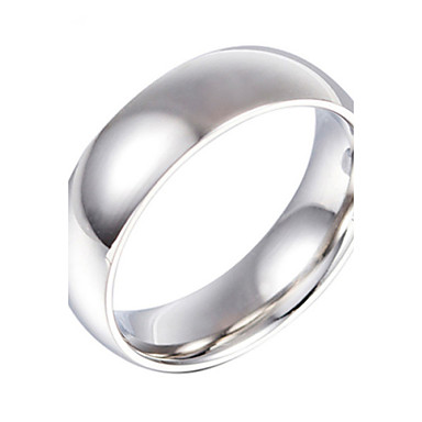 Buy Fashion Stainless Steel Silver Plated Smooth Men Women Finger Ring(1PC)