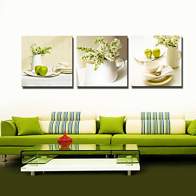 Visual star 3 panel flowers green color still life - Kitchen canvas wall decor ...